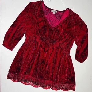 Red Velvet Rouched Blouse Shirt Tunic Sequin NWOT